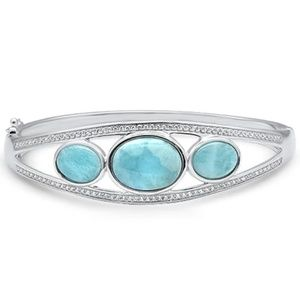 oval natural larimar.925 sterling silver bracelet